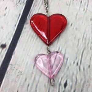 5/$25 Artsy double heart chain necklace
